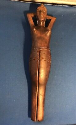 """Vintage Hand Carved Wood Folk Art Risque Nude Woman Nutcracker Philippines 13"""""""