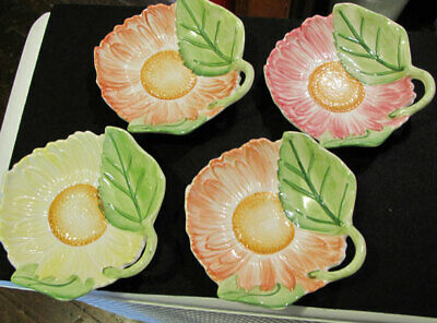 4 San Marco Nove made in Italy majolica colorful floral decorative plates
