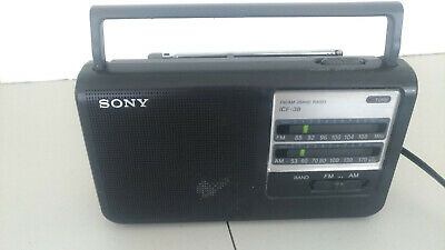 SONY ICF-38 FM/AM 2 Band Portable Radio Works Batteries Or Electricity option