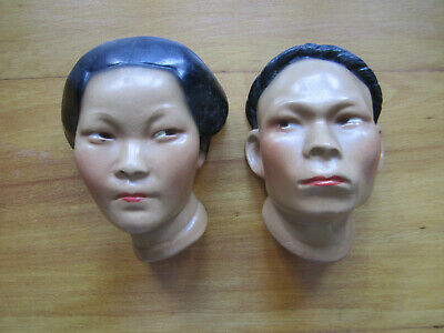 """Pair of chalkware heads of Asian man and woman - 4 3/4"""" tall"""