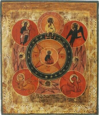 Antique Hand Painted Russian 18C Icon  Allseeing Eye Of God