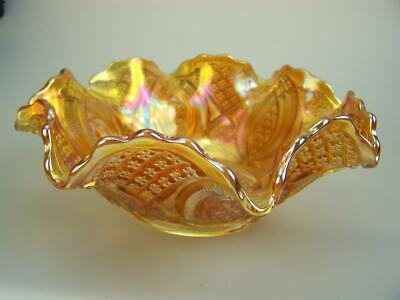 1920s Imperial carnival glass bowl marigold - Diamond Ring large bowl 237mm diam