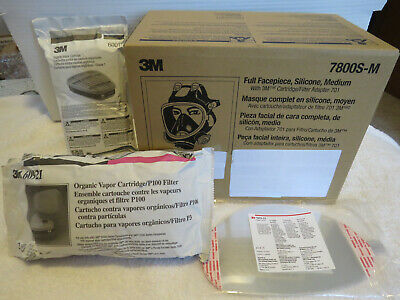 New 3M 7800S Silicone Full Face Respirator Mask MEDIUM + Filters 6001 60921+Lens