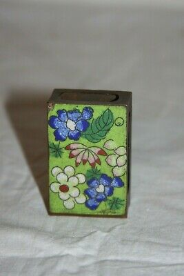 Antique Chinese Copper Cloisonne Enamel Match Box Holder Lotus Cherry Blossom