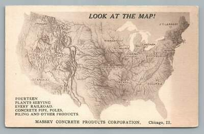 Concrete Plant US Relief Map~Massey CHICAGO Antique Advertising Kraemer? 1910s