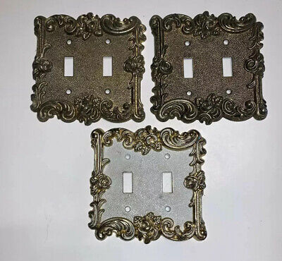 Mid Century American TackHardware Switchplates Floral Regency Antique Brass 1967