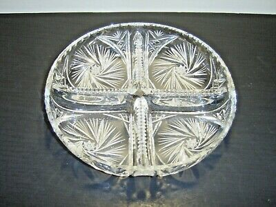 "American Brilliant Period Heavy Cut Glass 4 Part 9-3/4"" Divided Dish   **"