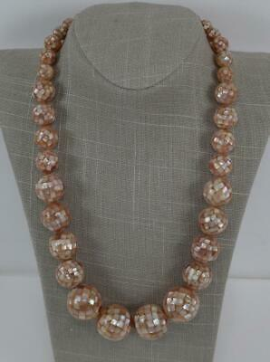 """Jay King DTR Mine Finds Graduated Inlaid Mother of Pearl Bead 23"""" Necklace .925"""