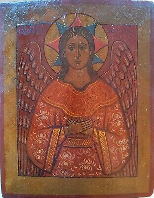 ANTIQUE 19c HAND PAINTED GREEK ICON OF ST.MIHAIL(MICHAEL)
