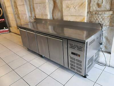 304# Stainless Steel TROPICALISED 4 Doors GN Bench Freezer with SPLASHBACK