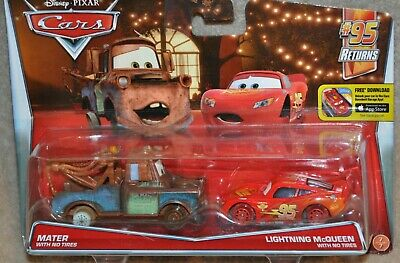 Disney Pixar Cars Diecast MATER and LIGHTNING MCQUEEN With No Tires 2 Pack