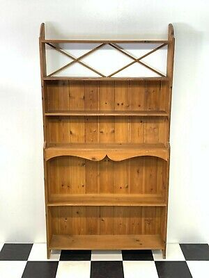 Vintage solid pine country style bookcase kitchen pantry shelf unit rack stand