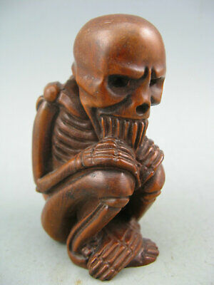 Japanese Netsuke Collectible Boxwood Handwork Old Antique Skeleton Statue