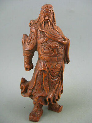 Antique Old Chinese Boxwood Hand Carved GuanGong 关公 Netsuke Statue