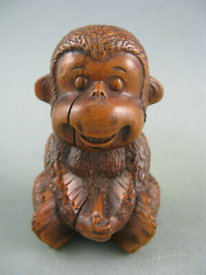 Antique Old Chinese Boxwood Hand Carved Monkey Statue Collectible