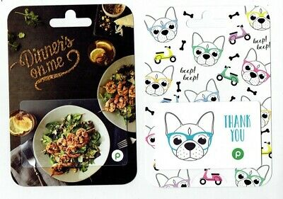 PUBLIX Gift Cards - Dog w/ Sunglasses & Dinner / Grocery - LOT of 2 -  No Value