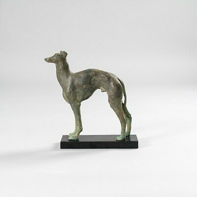 Standing Greyhound Dog Racing Hound Aged Bronze Cast Green Patina - UK