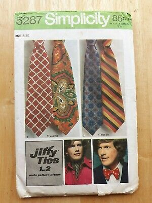 Simplicity 5287 Sewing Pattern Necktie Bow Tie  Ascot  Vintage c1972