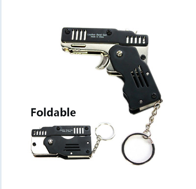 Mini Folding Six Bursts Rubber Band Gun Can Hold The Key Chain Made All Metal