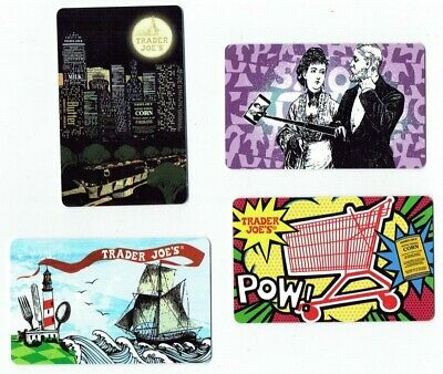 TRADER JOES Gift Card - LOT of 4 - Grocery / Food Store - Collectible / No Value