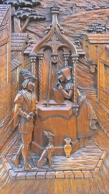 Stunning Large Door panel wood carved with Gothic water well