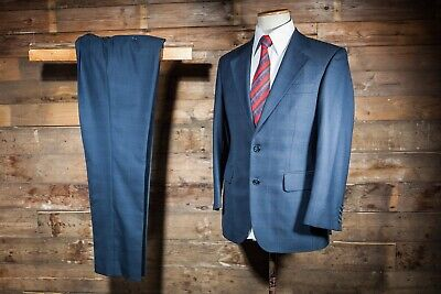 Suit 38S 34W 30L Blue Check Magee Wool