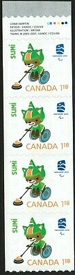 Canada sc#2309i Vancouver 2010: Mascots - Sumi, Strip from Coil Gutter, Mint-NH
