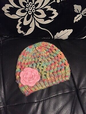 Baby Girls Mothercare Pink/Green Hat Age 0-3 Months