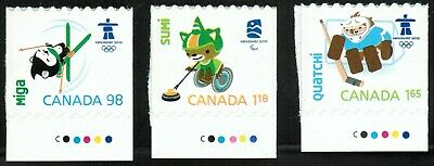 Canada sc#2311-2312-2313 Vancouver 2010 Mascots, Units from Booklet, Mint-NH