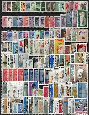 Canada 200 different single stamps 1c - 35c all Mint MNH see 2 scans FV $28