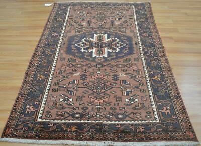 4'4 x 6'10 Geometric Animal Bird Design Hand Knotted Area Rug 4 x 7 Wool Carpet