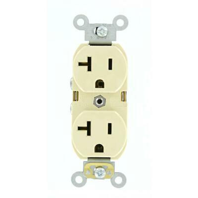 (10-Pack) 20 Amp Industrial Grade Heavy Duty Self Grounding Duplex Outlet, Ivory