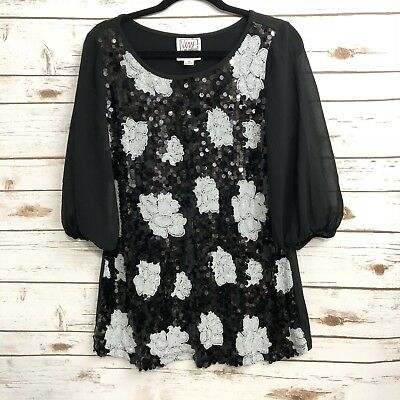 Very Vollbrach Black White Floral Sequin Front Sheer Sleeves Blouse Top Vtg Sz M