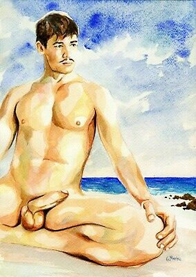 """PRINT of Original Art Work Watercolor Painting Gay Int Male Nude /""""Let/'s cook/"""""""