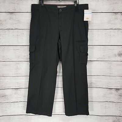 Dickies Women's 18 R Cargo Pants Black Relaxed Fit Straight Leg Rinsed Black NWT
