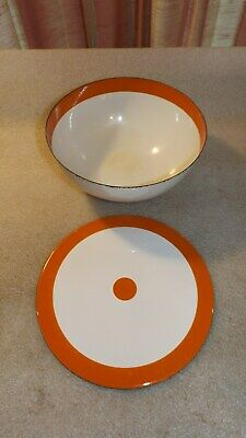 Cathrineholm White & Orange Stripe Bowl With Lid Vtg Mid Century Modern