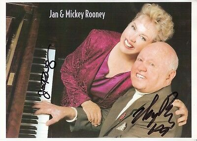 MICKEY & JAN ROONEY HAND Signed 10x8 INCH Photo BREAKFAST AT TIFFANYS