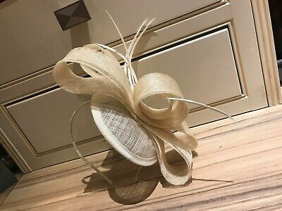Cream Feather Hatinator / Fascinator on Band - New