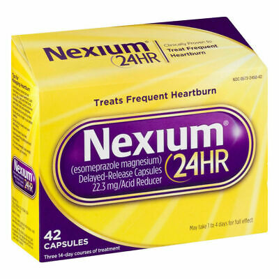 NEXIUM 24HR - 20 MG TREATS FREQUENT HEARTBURN 42 CAPSULES NEW Exp 7/22