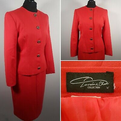 VINTAGE 80/90s Red Skirt Suit Sz 12/14 Power Dressing Jacket LORRAINE CHASE Mod