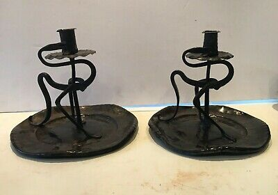 Pair Arts & Crafts copper chamber Candlesticks