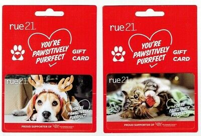 Gift Cards RUE 21 Holiday Collectible -  Beagle Dog / Cat - LOT of 2 - Christmas