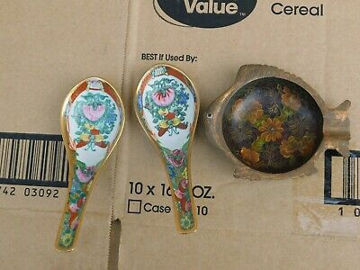 2 Antique Chinese Porcelain Spoons and one Antique Cloisonne Plate