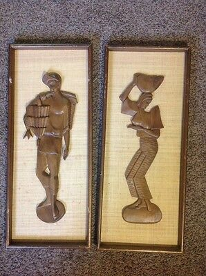 """(2) Vintage Wood Carving Pictures Girl And Boy 24"""" X 10"""" Plaques"""
