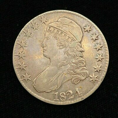 1824 Capped Bust Silver Half Dollar Coin