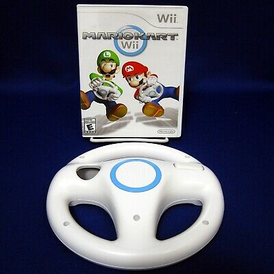 Wii Mario Kart + Wii Steering Wheel Nintendo No Manual Tested 2008