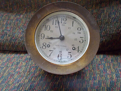 "Vintage Seth Thomas Marine Maritme Ship Clock Brass ""Corsair"""