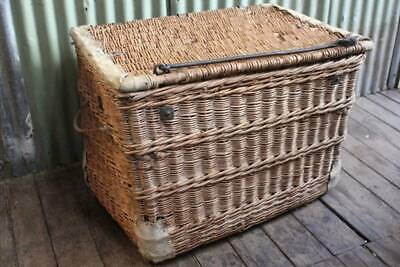 A Large Antique Cane & Iron Leather Bound Basket Chest Trunk Lock & Castors