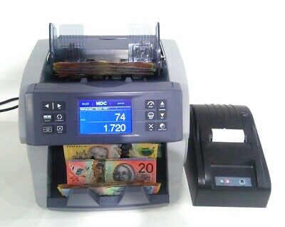 "AUSCOUNT AUS1000 ""THE BOSS "" MONEY COUNTER money counting machine W PRINTER GREY"