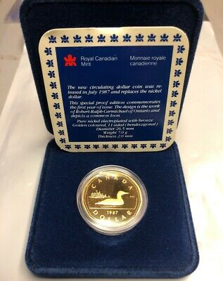 1987 Canada Dollar First Year Loonie PROOF Flashy Nice Coin in OGP in BOX W/ COA